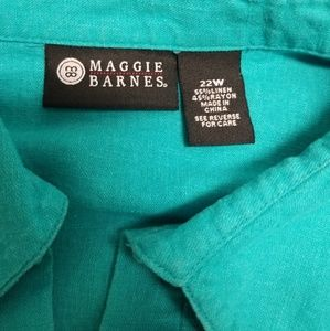 Maggie Barnes Tops - Maggie Barnes Turquoise Blue  22W Linen Blend Top